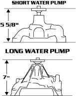 water pump dimensions
