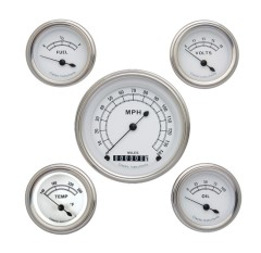 Classic Instruments Classic White Series 5 Gauge Speedo/Fuel/Oil/Temp/Volts Set