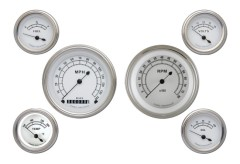 Classic Instruments Classic White Series 6 Gauge Speedo/Tach/Fuel/Oil/Volts Set