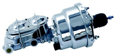 Dual Diaphragm 8 Inch Chrome Brake Booster Combo with Master Cylinder