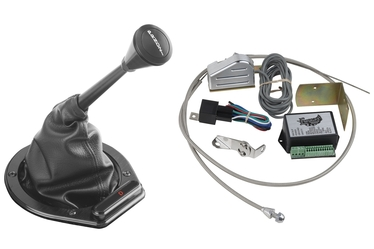 Lokar Black Cable Operated Horizontal Billet LED Round Shift Boot Indicator Kit
