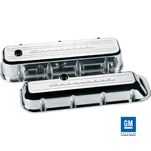 BILLET SPECIALTIES POLISHED SHORT VALVE COVERS,CHEVROLET SCRIPT,PCV BREATHER,RIB